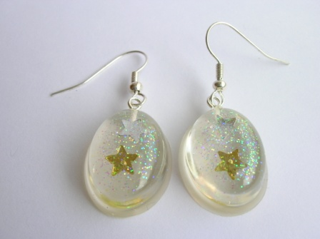 Silver/Gold confetti star earrings (large oval)