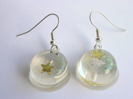 Silver/Gold confetti star earrings (round)