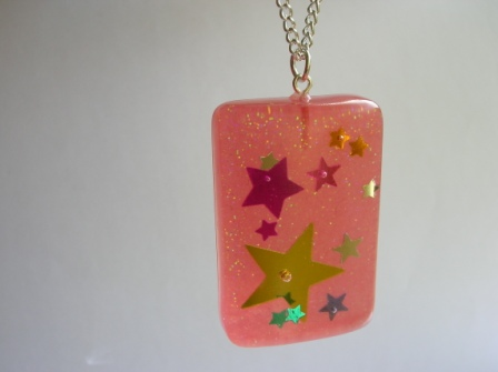 Colourful confetti star pendant/necklace (red rectangle)