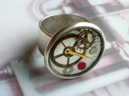 Gothic Steampunk Ring - Altered Art