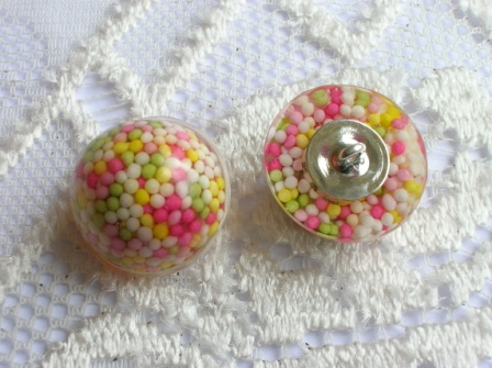 Handmade buttons containing real cake sprinkles (5 buttons)