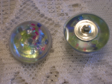 Handmade resin buttons with seed beads (5 buttons)