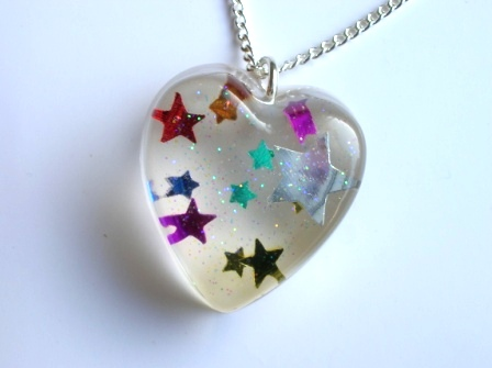 Colourful confetti star pendant/necklace (heart)