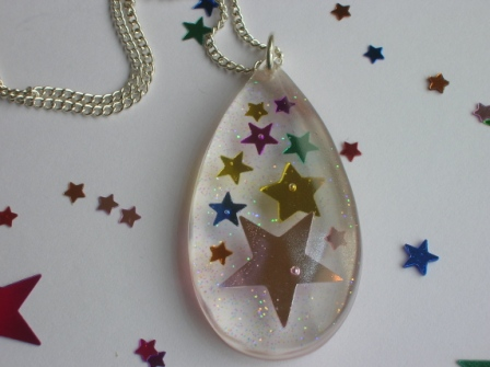 Colourful confetti star pendant/necklace (teardrop)