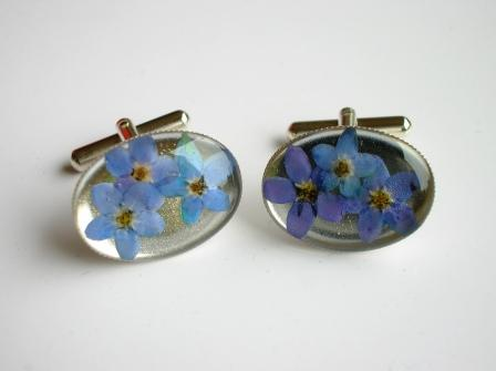 Silver Forget-me-not flower cufflinks