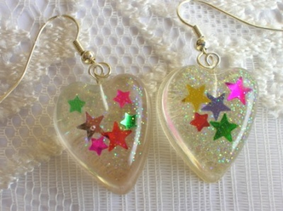 Colourful confetti star earrings