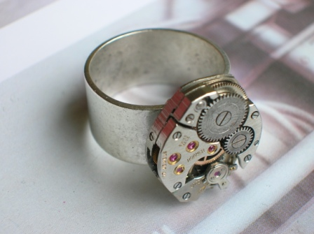 Steampunk Ring - Recycled Watch/Clock Parts