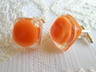 Tooty Frooty sweet cufflinks (orange)