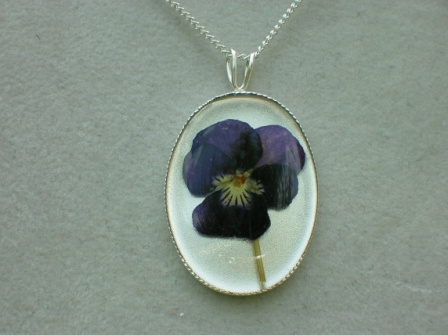 Real flower jewellery and keepsake gifts shpangle jewellery real pressed violet flower pendant necklace mozeypictures Choice Image