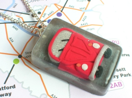 Red VW Beetle car pendant/necklace/keyring